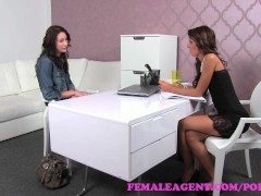 FemaleAgent. Shy beauty practices her pussy licking skills with agent