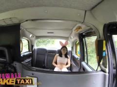 FemaleFakeTaxi Cute Asian has Lesbian bonnet sex with big tits MILF
