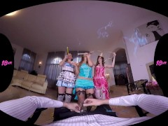 18VR.com new Year's Anal Foursome with Naomi, Ellen Betsy and Elena Vega
