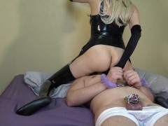 Femdom Mistress Milking & Fuck Hard her Slave in Ass with Strapon