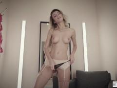 Ukrainian Hottie Cara Mell in Sexy Stockings Fucks her Pussy Hard