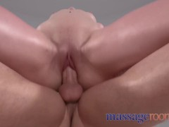 Massage Rooms Sloppy Oil Fuck for Sunburnt Cute Teen Redhead with Pigtails