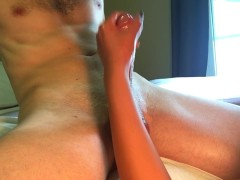 Busty Asian gives Handjob and Slaps Balls for Huge Cumshot