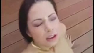 Dude stuffs his cock in her greedy tight asshole