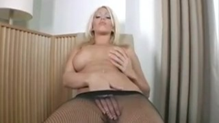 Busty Blonde Masturbating In Pantyhose