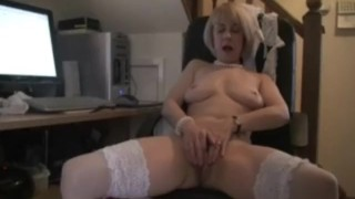 Milf office mature play lingerie stockings