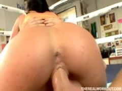 a deepthroat and a hard fuck will help relieve her trainers cock pains