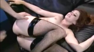 Petite redhead Chloe fucked in fishnets and stilettos Brunette doggystyle
