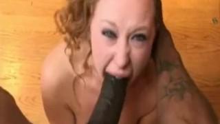 Sexy brunette Karina chokes on huge man meat!