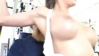 Hot busty babe getting her pussy licked and fucked in the gym