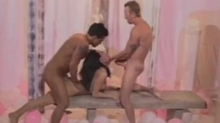 Double dicks a and hot sucking brunette getting cumshot tits pornstar