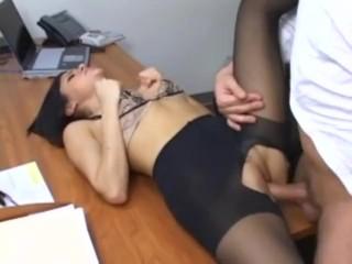 Secretary Sativa Rose in pantyhose fucking on her bosses desk