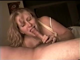 Beautiful blond milf sucks her Bf's cock before he leaves for work