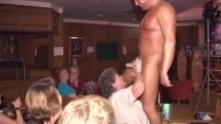 Women out of control at a british Male Strip party