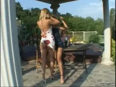 Two tight blonde Lesbians please themselves outdoor