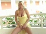 Big tit Alison pussy rubbing on the terrasse