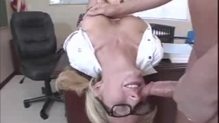 Blonde bopper Hillary deepthroats a cock upside down Blowjob wife