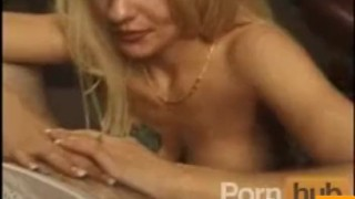 Blonde big tit slut pussy playing and blowing