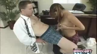 Sexy latina Sativa stoking, tit-fucking and sucking her professors hard coc