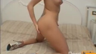 Tight blonde dildoes her twat Spanking striptease