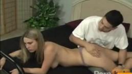Blonde girl gets spanked hard
