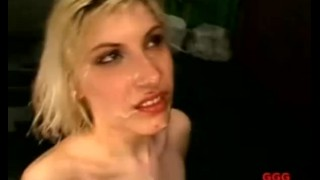 Blonde gets her face drenched in sperm