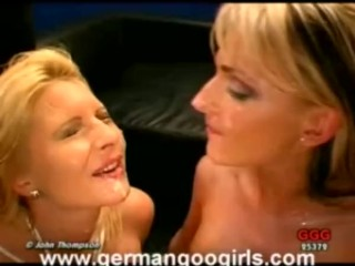 Hot Blonde Lesbians Drinking and Swapping Cum!