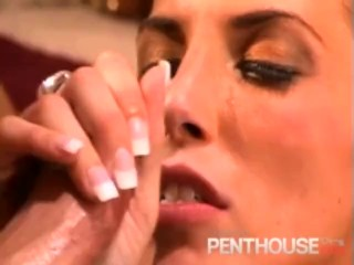 Hot Brunette Sucks 2 Cocks, Gets Fucked and Swallows!