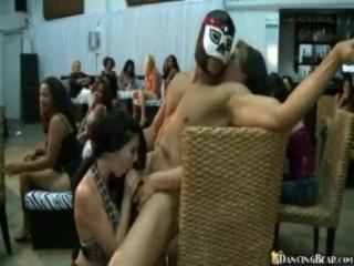 Topless Drunk Brunettes Tug & Blow Stripper Cock