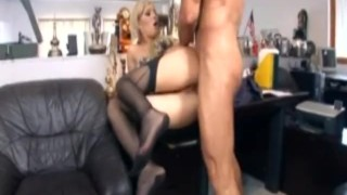 Blonde secretary with glasses fucking in lingerie at the office Tits tits