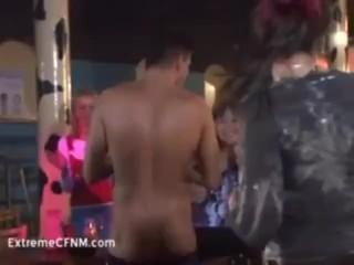 Filthy party girls suck strippers cock