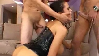 Carmella Bing rammed in every fuckhole by three cocks