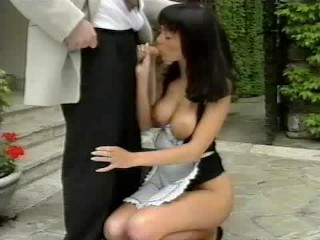 Tight Hairy Twat Slutty maid gives boss some head