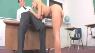 Blonde teen sucks the professors cock as punishment for trying to skip