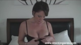 Milf Fucks Wand For First time Brunette dildo