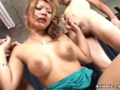 Busty Japanese babe gets by several cocks