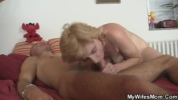 Mother in law finds him masturbating and offers her old pussy