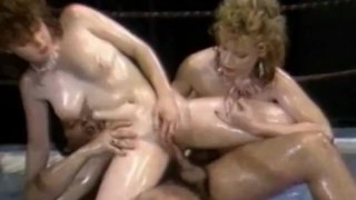 Busty oiled girls gets nailed by coach porno