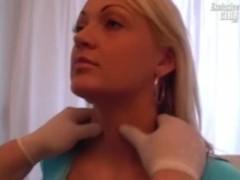 Blonde chubby Mariana pussy speculum exam