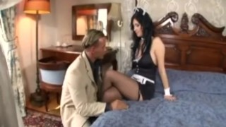 Busty maid has sex in fishnet stockings and high heels Cum cumshot