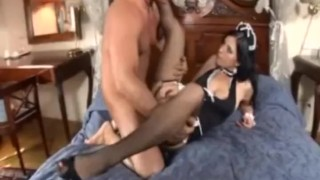 Busty maid has sex in fishnet stockings and high heels