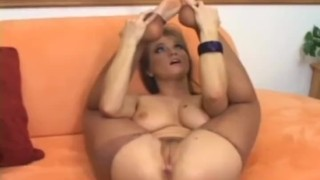 Rita fucking and footsex in ripped up crotchless pantyhose
