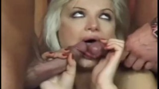 Skinny blonde cutie teases then gets dped in fishnet stockings