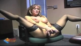 Pornstar Brandi Love Fucks Glass Dildo While Member Watches
