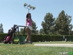 Golf babe Carina Roman gets facialized after getting fucked hard