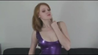 Slut strips in Latex  kinky heels latex fingering latexheavenvideo.com red head striptease sclip masturbation fetish solo