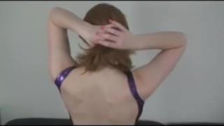 Slut strips in Latex sclip masturbation heels fetish solo latexheavenvideo.com kinky red head latex fingering striptease