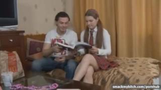 Tutor fucks schoolgirl ass Girlfriend close