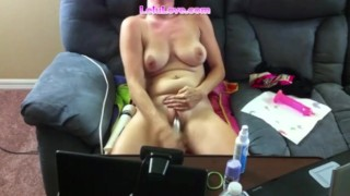 lelu love masturbation instruction with toys til boyfriend takes off her toys and moaning wth a crempie to her tits