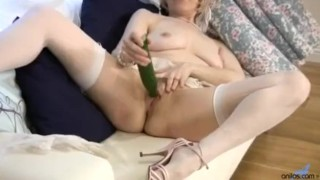 Horny granny cucumber pussy penetration Redhead natural
